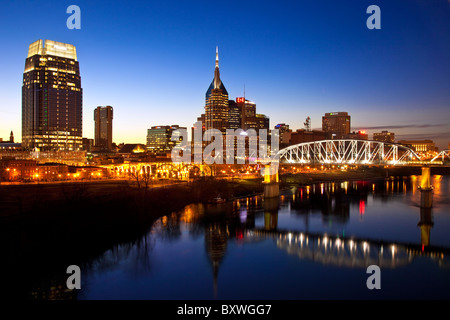 Twilight over the Cumberland River at Nashville Tennessee, USA - Stock Photo
