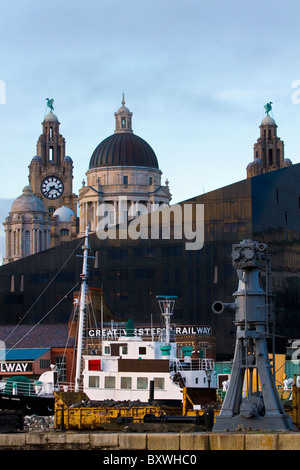 Canning Dock, and the New Mann Island Development, with the Liver Building, Liverpool, Merseyside, UK - Stock Photo