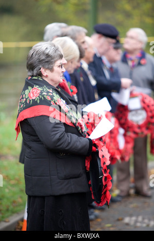 Wreath bearers at Remembrance Day parade - Stock Photo