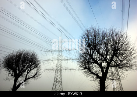 High-tension power line. Electricity. - Stock Photo