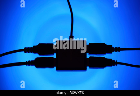 Multiple USB socket, for connecting different computer devices via USB with the computer. - Stock Photo