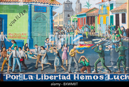 Wall painting depicting the modern Nicaraguan history Leon Nicaragua - Stock Photo