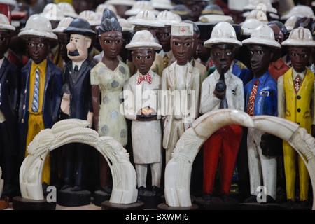 Wood and metal sculptures at the 12th biannual Salon International de l'Artisanat de Ouagadougou (SIAO) in Burkina Faso.