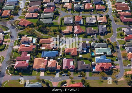 Aerial view of new housing estate Brisbane Australia - Stock Photo