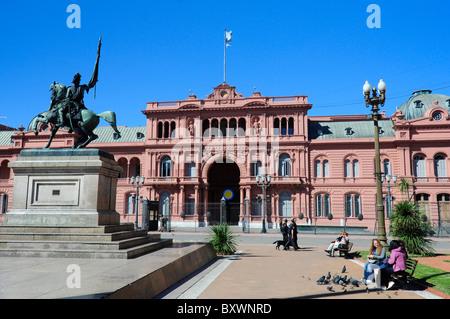 Casa Rosada presidential palace and General San Martin statue, Plaza de Mayo, Buenos Aires, Argentina, South America - Stock Photo