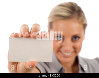 Businesswoman looking for a job, and successfully finding her dream job! - Stock Photo