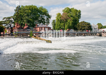 The Weir on the River Thames at Marlow in Buckinghamshire England UK - Stock Photo