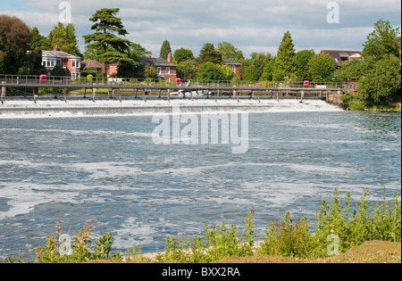 The Weir on the River Thames at Marlow, an English town in Buckinghamshire England UK - Stock Photo