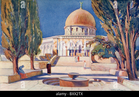 The Dome of the Rock on Temple Mount, Jerusalem, Palestine, circa 1910. - Stock Photo