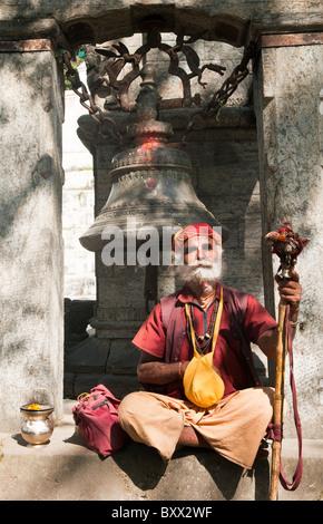 portrait of a sadhu at the Pashupatinath Temple in Kathmandu, Nepal - Stock Photo