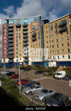 Apartments And Car Park At The Royal Victoria Dock East London UK   Stock  Photo