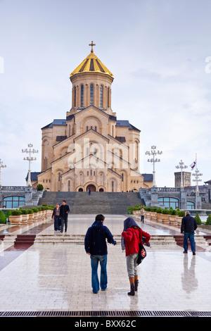 Sameba Cathedral (Holy Trinity) in the Avlabari District of Tbilisi Georgia. JMH4022 - Stock Photo