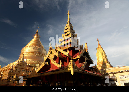 The Shwezigon Pagoda or Shwezigon Paya a Buddhist temple near Nyaung-U near Bagan in Myanamar or Burma in Southeast - Stock Photo