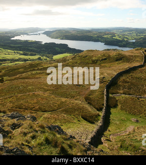 A view from Wansfell Pike overlooking Lake Windermere in the English Lake District National Park Cumbria England - Stock Photo