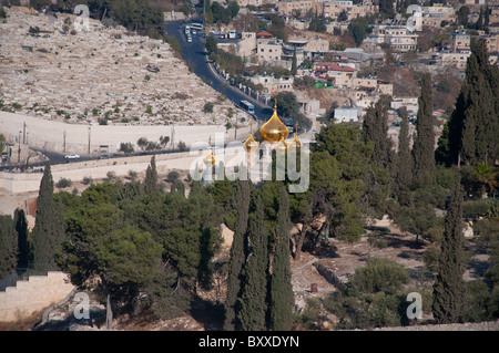 A view of the golden spires of the Church of Mary Magdelene from the Mount of Olives. - Stock Photo