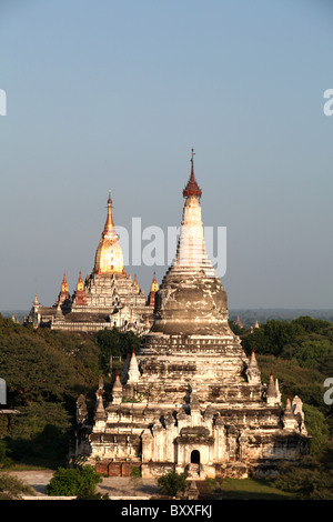 A view of Thatbyinnyu Pahto Temple with Ananda Pahto temple in the background in Bagan, Myanmar. (Burma)