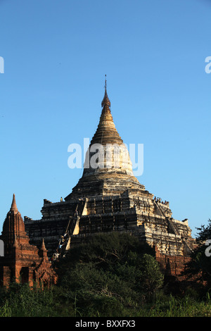 Shwesandaw Pagoda or temple AKA sunset temple in, Bagan Archaeological Zone, Myanmar. Burma - Stock Photo