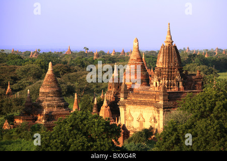 Views of temples, as seen from the Shwesandaw Pagoda in the Bagan Aarchaeological Zone in Bagan, Myanmar. (Burma) - Stock Photo
