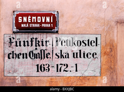 Prague, Czech Republic. Street Signs in Mala Strana. Snemovni (street) and previous name in Czech and German (Five - Stock Photo