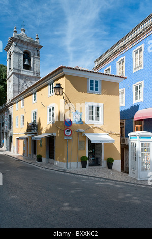 Praca da Republica in the village of Sintra in Portugal - Stock Photo