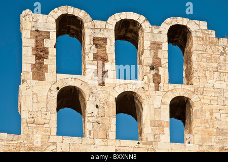 Detail of arches on the Odeon of Herodes Atticus, built in AD 161, on the southern slopes of the Acropolis, Athens, - Stock Photo