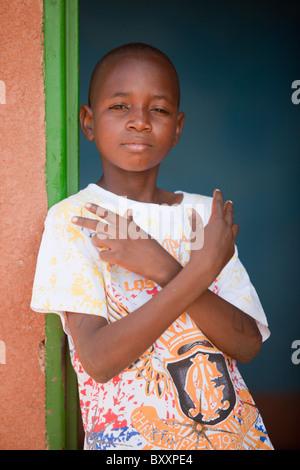 Fulani boy in Djibo, northern Burkina Faso. - Stock Photo