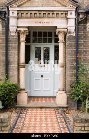 Edwardian front porch Woodbridge Suffolk UK - Stock Photo