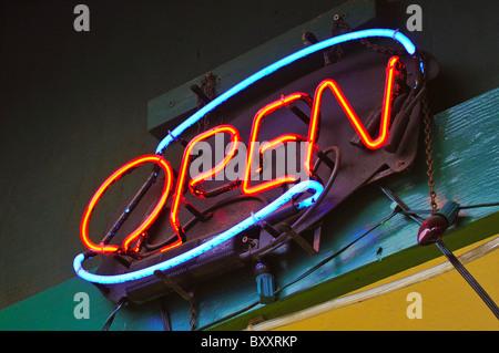 Neon open sign - Stock Photo