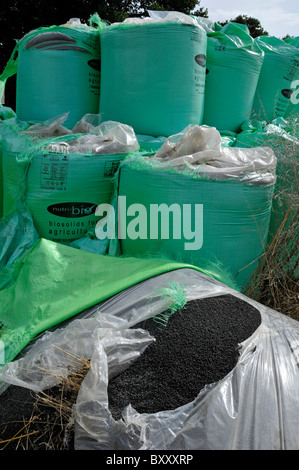 Bags of Biosolids contents derived from sewage by Nutri Bio part of Anglian Water standing in a farm field - Stock Photo