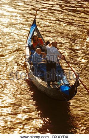 Gondola From Academia Bridge - Venice Italy - Stock Photo