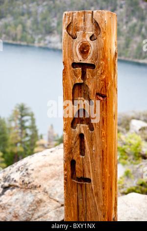 A trail marker on a hike near Cascade Lake in South Lake Tahoe, California. - Stock Photo