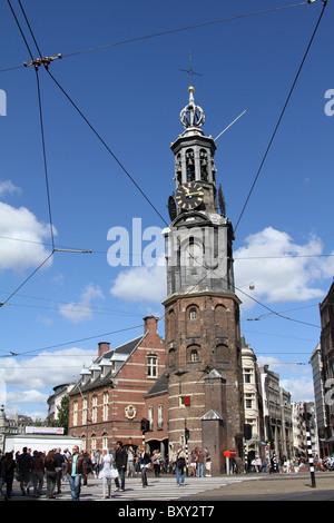The Munttoren or Mint Tower in Munt Plein in Amsterdam, Holland - Stock Photo