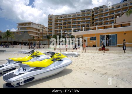 Volleyball and Jet Skies on the beach, El Cozumeleno Beach Resort, Cozumel Island, Quintana Roo, Yucatán Peninsula, - Stock Photo