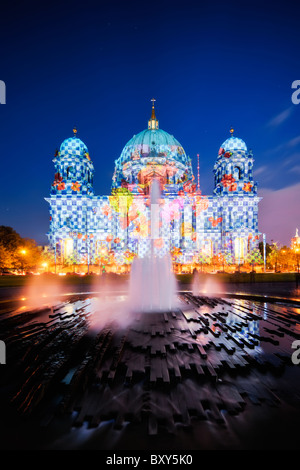 Berlin Cathedral (Berliner Dom) during the Festival of Lights 2010 - Stock Photo