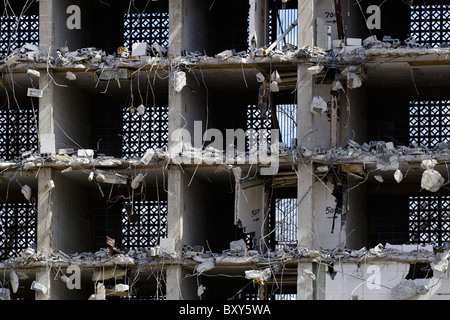 Close up of the old honeycomb style Towers dorm room building demolition on the USC campus in Columbia, SC in March - Stock Photo