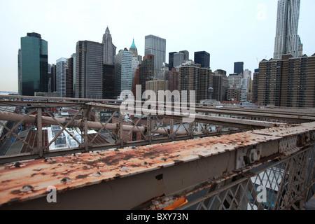 Rust on Brooklyn bridge, Manhattan, New York, 2010 - Stock Photo