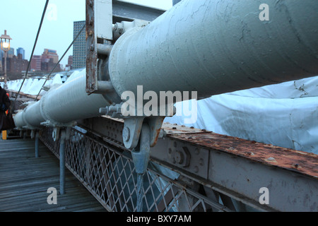 Close up of steel cable on Brooklyn Bridge, New York city, 2010 - Stock Photo