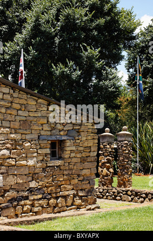Union Jack and South African flags at Fort Nottingham, Midlands, KwaZulu Natal, South Africa. - Stock Photo