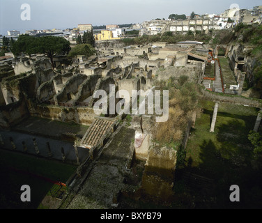 Italy. Herculaneum. Ruins of the ancient Roman city that was covered by lava after the eruption of Vesuvius in 79 - Stock Photo