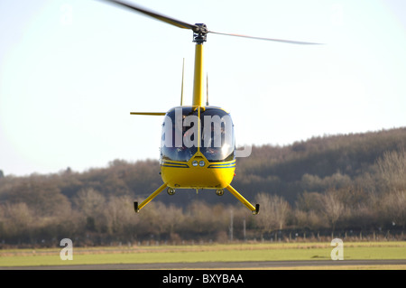 Robinson R44 helicopter at Wellesbourne Airfield, Warwickshire, UK - Stock Photo