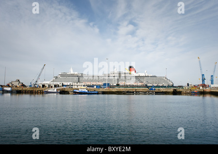 MS Queen Victoria (QV) at Southampton  Docks. Queen Victoria is the smallest of all three Cunard Ships. Callsign - Stock Photo