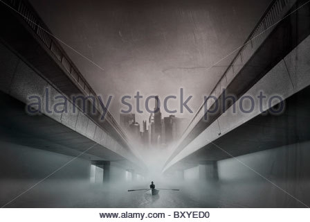 Conceptual image of male figure rowing a boat in an urban environment - Stock Photo