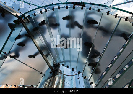 U.S.A., New York, Manhattan, 5th Avenue, the stairs of the Apple store - Stock Photo