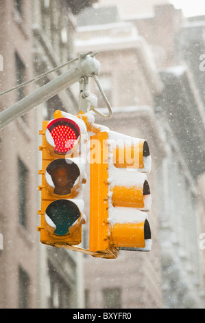 Snow covered traffic lights - Stock Photo