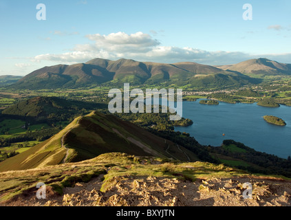 The view from Cat Bells looking towards Skiddaw in the Lake District - Stock Photo