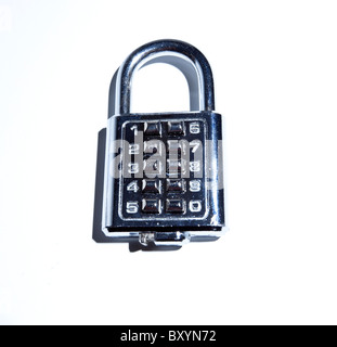 Cutout of chrome combination padlock. - Stock Photo