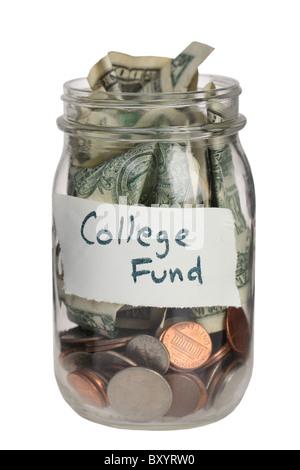 College fund jar on white background - Stock Photo