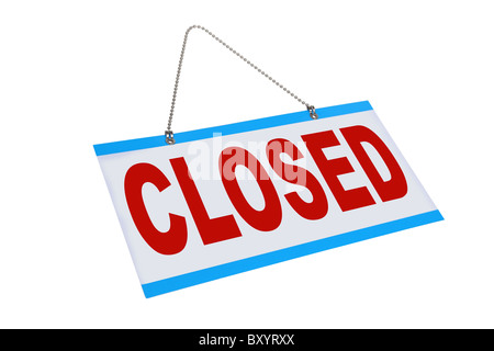Closed sign on white background - Stock Photo