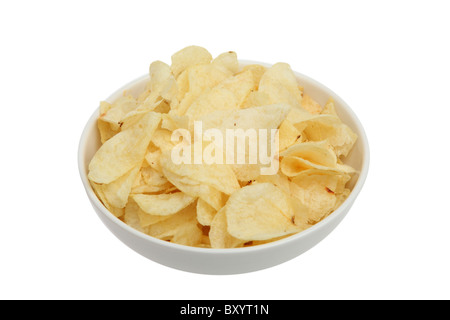 Potato chips in bowl on white background - Stock Photo