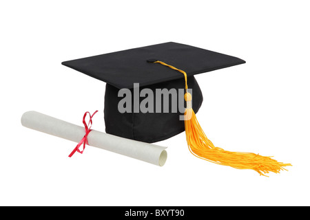 Graduation hat and diploma on white background - Stock Photo